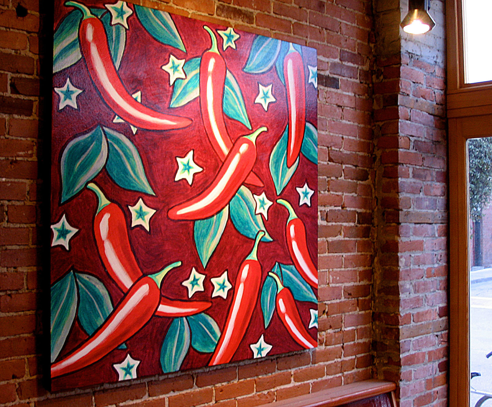 Peppers - painting by Trace Meek at Bueno Burlington