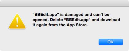 BBEdit damaged