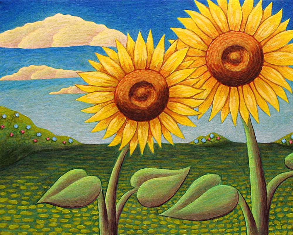 Two Sunflowers painting by Trace Meek