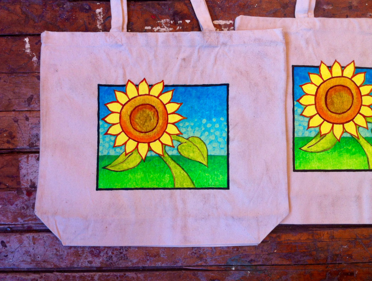 Sunflower Painting on a Tote Bag